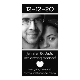 Modern Heart Save The Dates (Silver) Personalized Photo Card