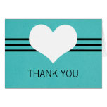 Modern Heart Thank You Card, Aqua