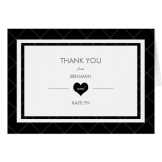Modern Heart Thank You Note Card -black and white