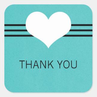 Modern Heart Thank You Stickers Aqua