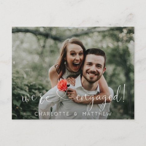 Modern Heart We're Engaged Engagement w/ PHOTO Announcement Postcard