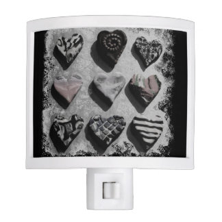 Modern Hearts Black, White, and Gray For Teen Girl Night Light