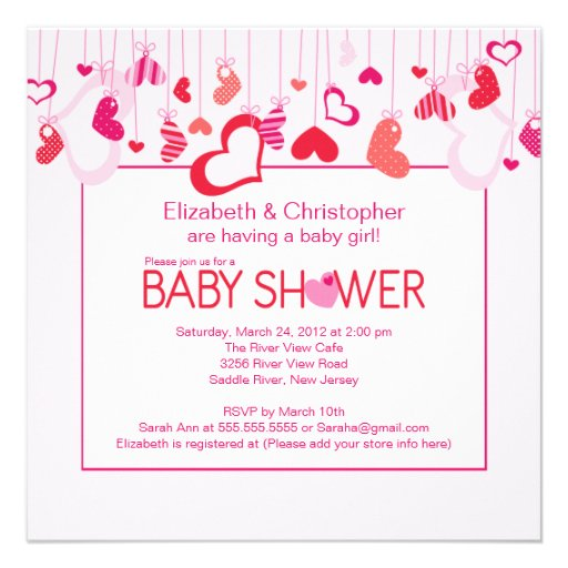 modern hearts couples baby shower invitation square invitation