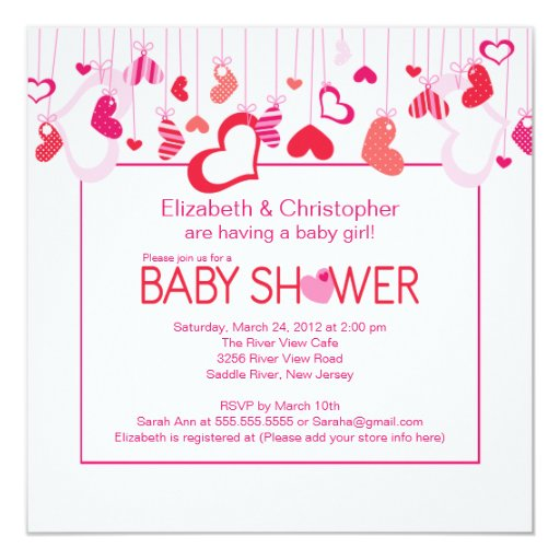 "Modern Hearts Couples Baby Shower Invitation 5.25"" Square Invitation Card"