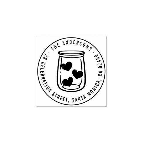 Modern Hearts Mason Jar Name Round Return Address Rubber Stamp