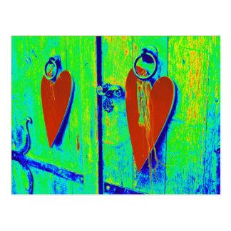 Modern hearts postcard