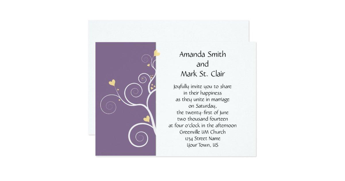 Modern Hearts Purple And Yellow Wedding Invitation