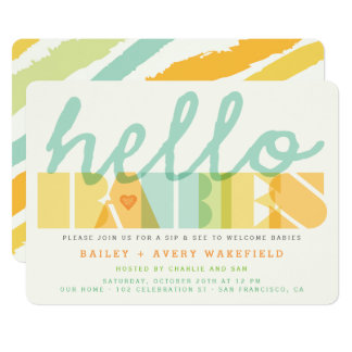 Modern Hello Babies Twins Baby Sip & See Invite
