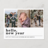 Modern Hello Happy New Year Simple 3 Photo Collage Holiday Postcard