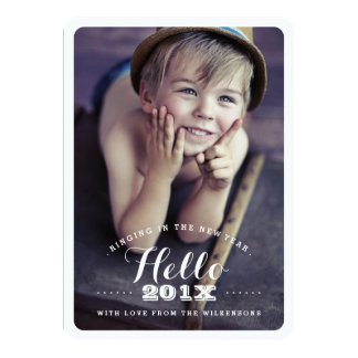Modern Hello New Year Holiday Two Photo Card