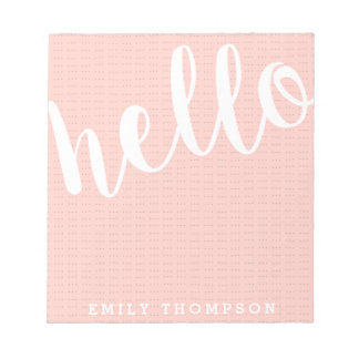 Modern Hello Personalized Social Stationery Notepad