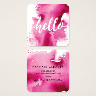 MODERN HELLO SCRIPT arty watercolor splash pink Square Business Card