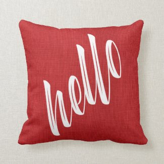 Modern Hello Script on Red Linen Texture Photo Throw Pillow