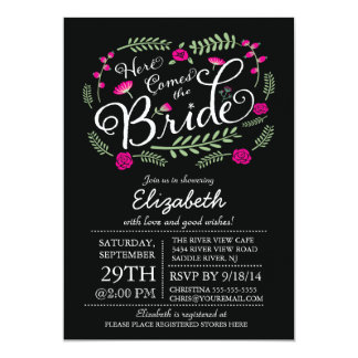 Modern Here Comes The Bride Fuchsia Floral Card