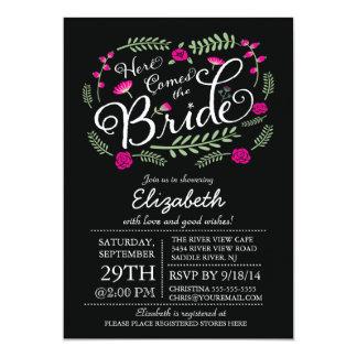 Modern Here Comes The Bride Fuchsia Floral 5x7 Paper Invitation Card