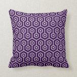 Modern Hexagon Honeycomb Pattern Purple Pillows