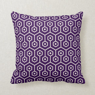 Modern Hexagon Honeycomb Pattern Purple Pillows