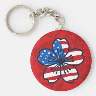Modern Hibiscus American Flag Patriotic Key Chains
