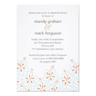 Modern Hibiscus Rehearsal Dinner Invitation Cards