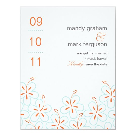 Modern Hibiscus Save The Date Card