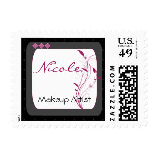 Modern High Style in Black Grey Pink Postage Stamp