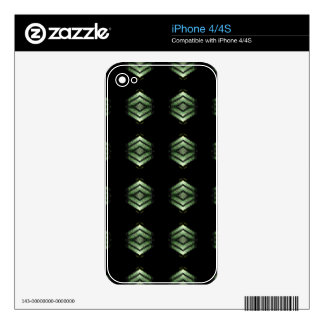 Modern Hip Black Green Pattern Skins For The iPhone 4
