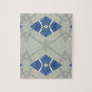 Modern Hip Blue Gray Geometrical Pattern Jigsaw Puzzle
