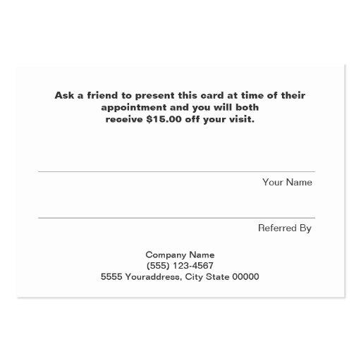 Modern Hip FAUX Sequins Salon Refer A Friend Black Business Card Templates (back side)