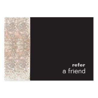Modern Hip FAUX Sequins Salon Refer A Friend Black Large Business Card