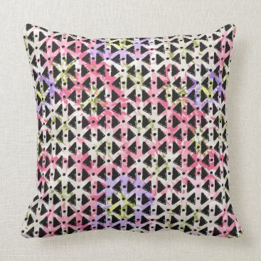 Aztec Themed Modern hip super cool open weave colorful throw pillow