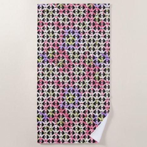 Modern hipster abstract black pink beach towel