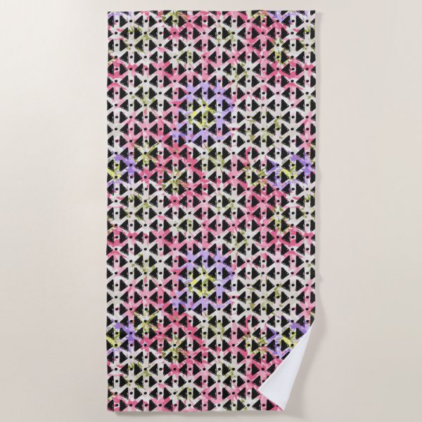 Modern hipster abstract black pink beach towel