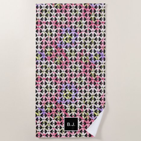 Modern hipster abstract black pink monogrammed beach towel