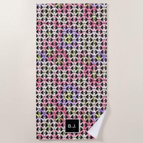 Modern hipster abstract black pink monogrammed beach towel