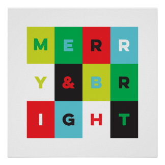 Modern Holiday Art Merry and Bright Print