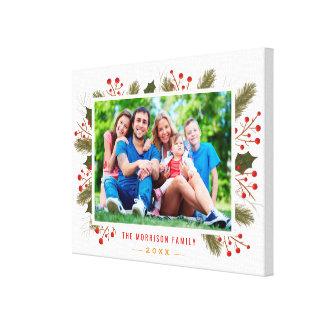 Modern Holiday Christmas Family Photo Frame Canvas Print