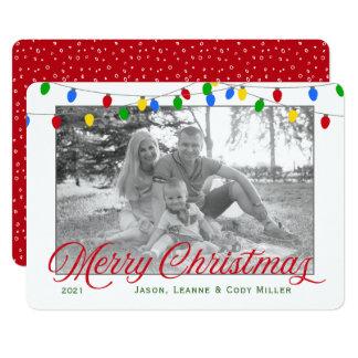 Modern Holiday Christmas Lights Photo Card