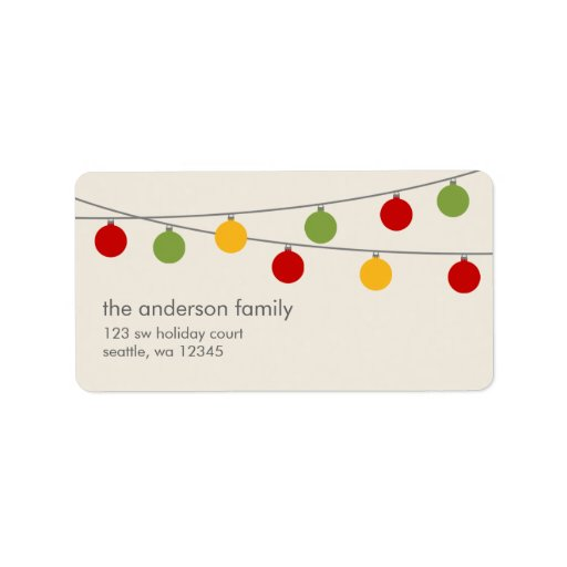 Modern Holiday Christmas Ornaments Address Label