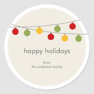 Modern Holiday Christmas Ornaments Gift Tag Classic Round Sticker