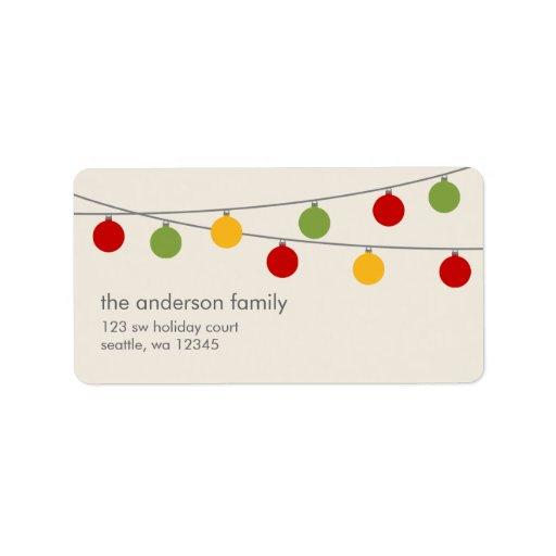 Modern Holiday Christmas Ornaments Address Label