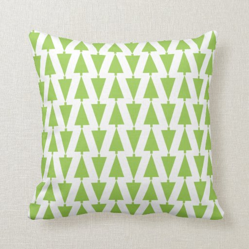 Modern Holiday Green Christmas Tree Pattern Pillow