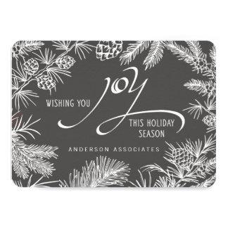 Modern Holiday Joy Botanical Winter Branches 4.5x6.25 Paper Invitation Card