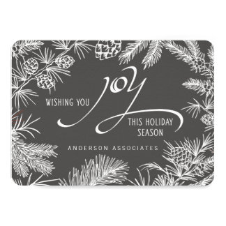 Modern Holiday Joy Botanical Winter Branches Card
