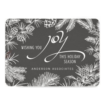 Professional Business Modern Holiday Joy Botanical Winter Branches Card