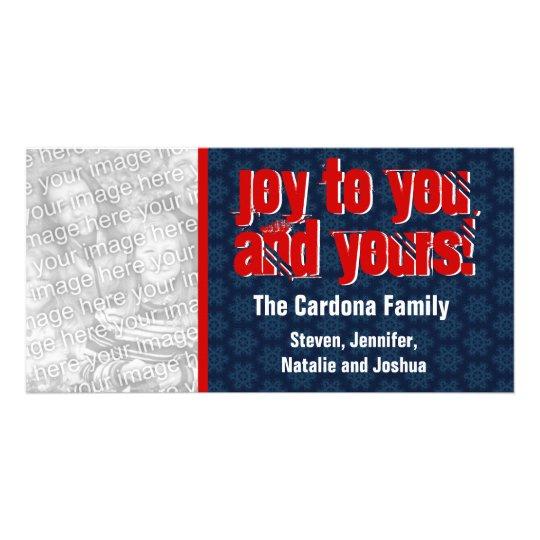 Modern Holiday Joy Photo Card Blue Red Snowflake