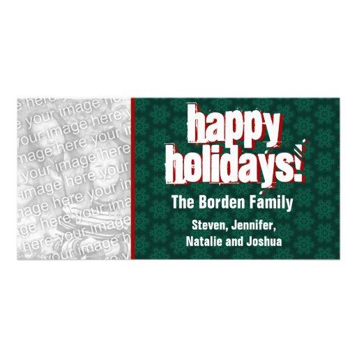 Modern Holiday Joy Photo Card Green Snowflake