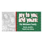 Modern Holiday Joy Photo Card Green Snowflake 3