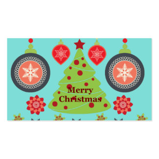 Modern Holiday Merry Christmas Tree Snowflakes Double-Sided Standard Business Cards (Pack Of 100)
