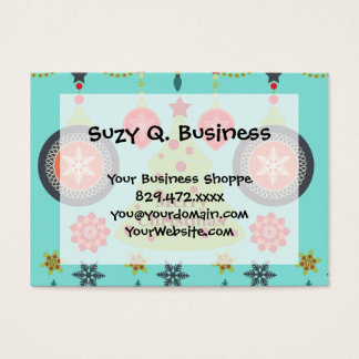 Modern Holiday Merry Christmas Tree Snowflakes Business Card