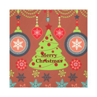 Modern Holiday Merry Christmas Tree Snowflakes Stretched Canvas Print